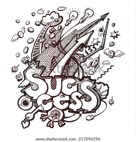 Business doodles. Concept of success. Vector illustration - stock vector