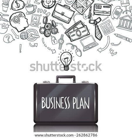 Business doodles concept with marketing and accounting symbols and briefcase set vector illustration - stock vector