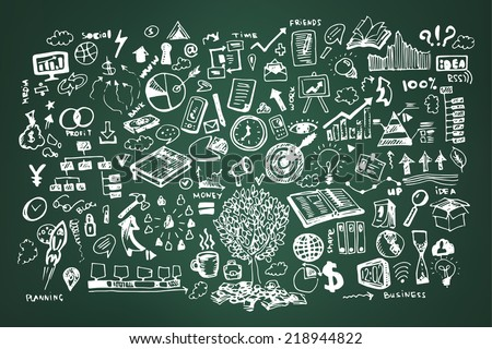 Business doodles on dark green or school board background - stock vector
