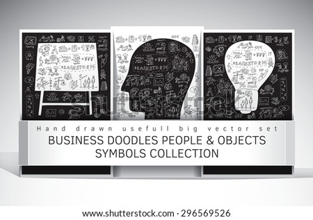 Business doodles people and objects symbols set. Big set with hand drawn business icons. Black and white vector illustration. - stock vector