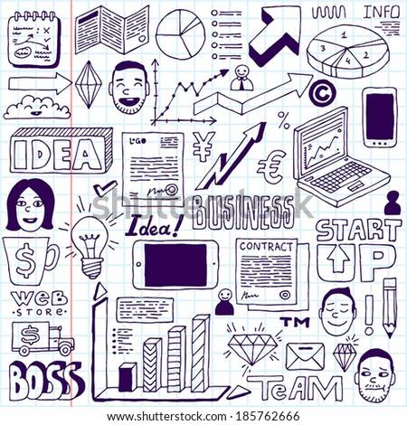 Business doodles set. School notebook. Vector illustration. - stock vector