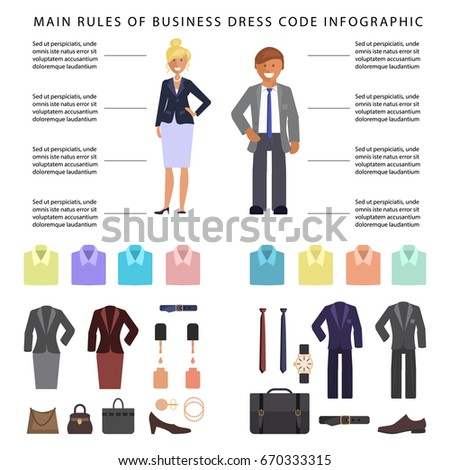 Business dress code infographics people formal stock for Office design rules of thumb