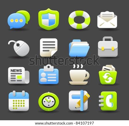 business,eco  icon set | Dark series - stock vector