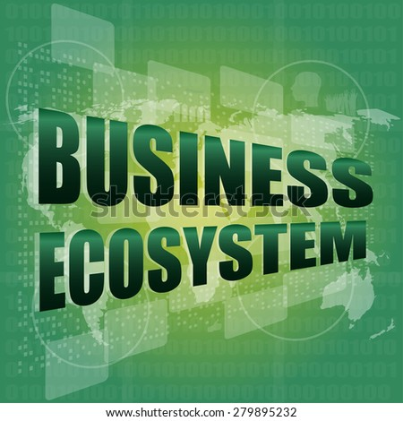 business ecosystem words on digital touch screen vector - stock vector