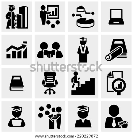 Business education icons set on gray  - stock vector
