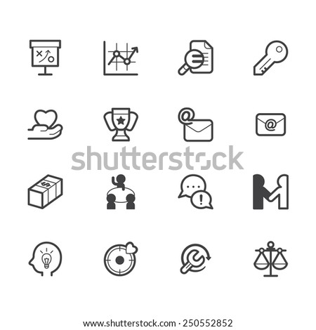 business element vector black icon set on white background - stock vector