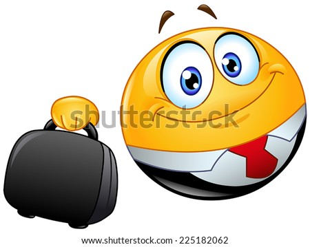 Business emoticon holding a briefcase - stock vector