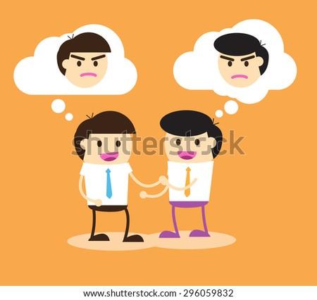 Business etiquette forbids show negative emotions. Insincere partnership, Businessman handshake, illustration vector design. smile, crafty - stock vector