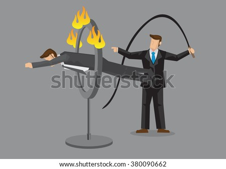 Business executive jumping through ring of fire as ordered by businessman holding whip. Cartoon vector illustration on obedience employee concept isolated on grey background. - stock vector