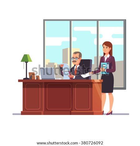 Business executive with a secretary at his desk giving a paper for a signature. Flat style modern vector illustration. - stock vector