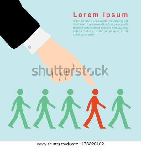 Business executives often select people for leadership - stock vector