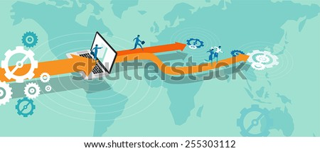 business expansion outsource - stock vector