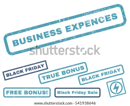 Business Expences rubber seal stamp watermark with additional design elements for Black Friday offers. Vector cyan and blue stickers. Tag inside rectangular shape with grunge design and dust texture.