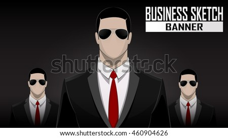 Business face off team standing over dark background. Businessmen in sunglasses. Vector illustration