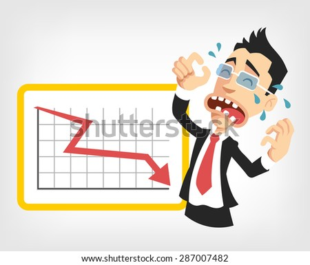 Business fail. Graph down vector flat illustration - stock vector