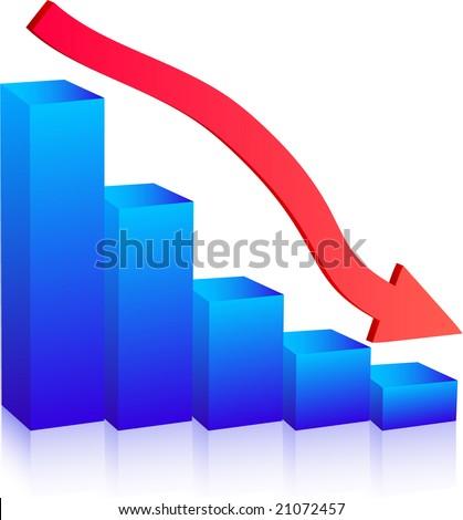 Business Failure graph down arrow - stock vector