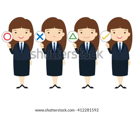 """Business family cartoon character with """"yes"""", """" No"""", """"OK"""", """"Correct"""", """"Incorrect"""", """"Right"""" and """"Wrong"""" answer on White background.- vector illustration - stock vector"""