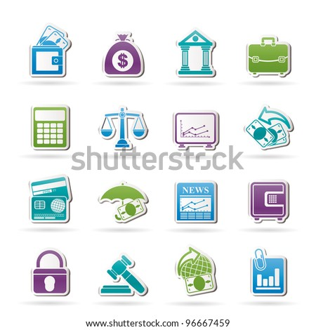 Business, finance and bank icons - vector icon set - stock vector