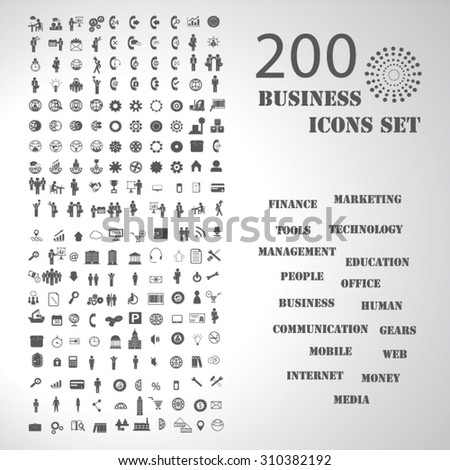Business, finance and management icons big set illustration  - stock vector