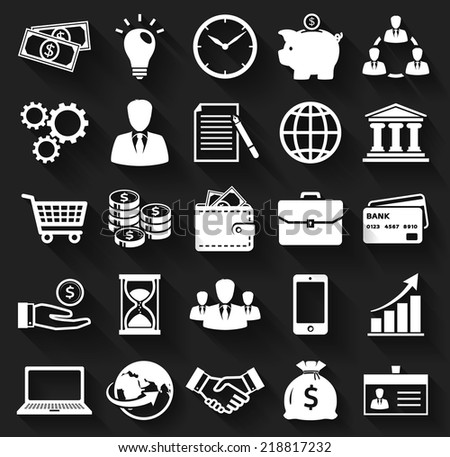 Business, finance and marketing. White flat icons on a black background. Set of 25 concept symbols with long shadows. Collection of silhouette elements for your design. Vector illustration. - stock vector