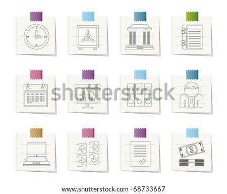 Business, finance and office icons - vector icon set - stock vector