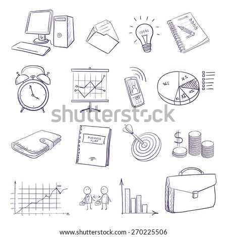 Business, finance and transportation icon set. hand draw doodle business icon set isolated on white background