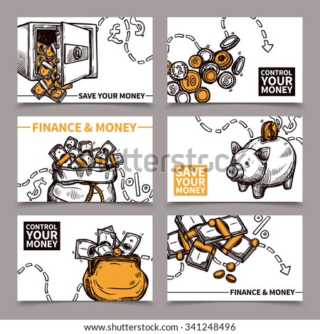 Business finance 6 cards composition with secure reliable saving money tips pictograms doodle abstract vector isolated illustration - stock vector