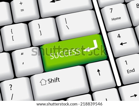 Business finance concept: computer keyboard with word Success, selected focus on enter button. vector illustration - stock vector