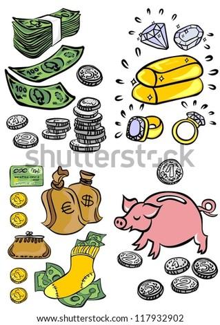 business/finance elements colorful illustration set - stock vector