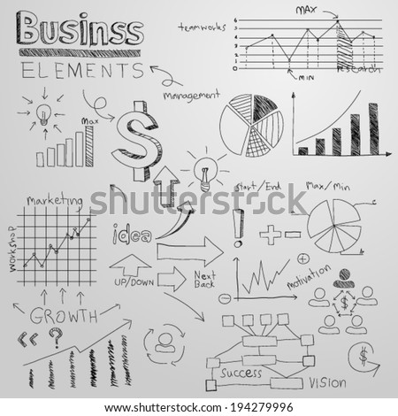 business finance hand drawn elements - stock vector