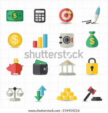 Business finance money icons - stock vector