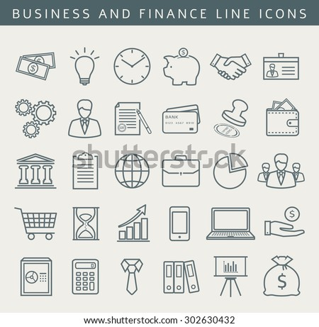 Business, finance, office, shopping and marketing icons. Set of 30 concept symbols. Collection of outline elements for your design. Vector illustration. - stock vector