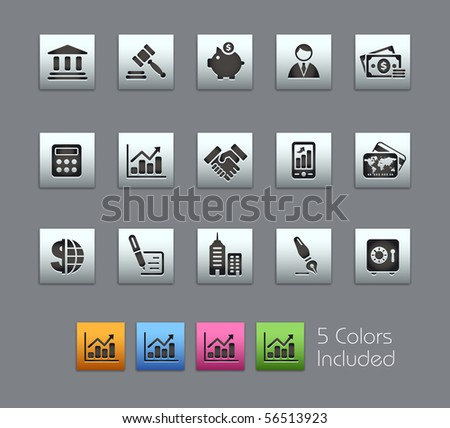 Business & Finance // Satinbox Series -------It includes 5 color versions for each icon in different layers --------- - stock vector