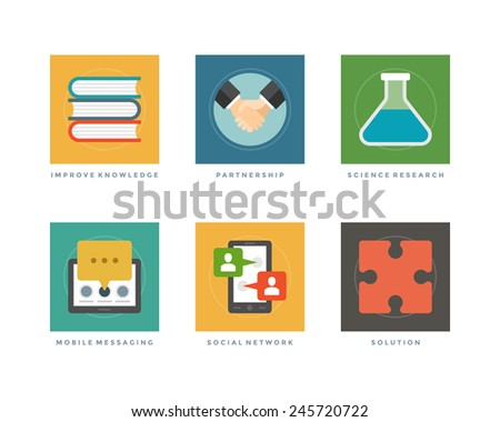 Business flat design icons, Improve Knowledge, Partnership, Science Research, Message Tablet Computer, social Network, Puzzle. Vector illustration for website and promotion banners.  - stock vector