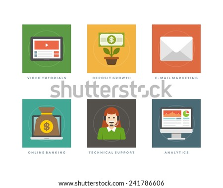 Business flat design icons, Video Tutorials, Deposit Growth, E-mail Marketing, Online Banking, Technical Support, Analytics. Vector illustration for website and promotion banners. - stock vector