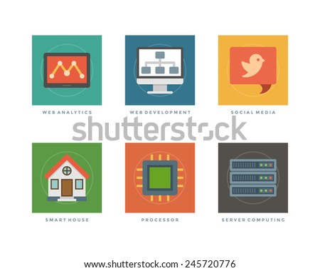 Business flat design icons, Web Analytics, Development, Tablet Computer, Social Media, Smart House, Processor, Server Computing. Vector illustration for website and promotion banners.  - stock vector
