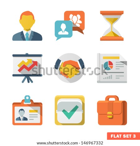 Business Flat icon set for Web and Mobile Application. - stock vector