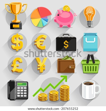 Business flat icons color set. Vector illustration - stock vector