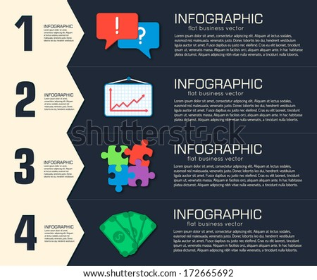 Business flat infographic template with text fields. Vector Illustration - stock vector
