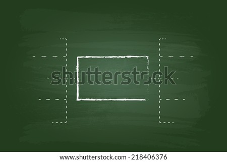 Business Flow Chart Rectangles Graphic On Green Board - stock vector