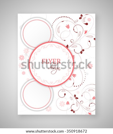 Business flyer, brochure template or corporate banner with abstract floral pattern and round text box. - stock vector
