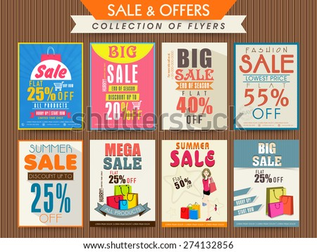 Business flyer or brochure collection with big discount offers. - stock vector