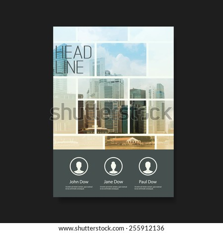 Business Flyer or Cover Design with Skyscrapers - Corporate Identity Design Template - stock vector