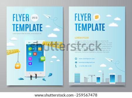 Business Flyer Template Construction Smartphone Software Stock