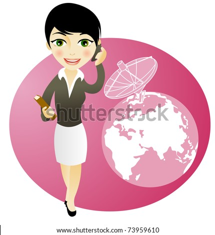 business girl on the phone, communications concepts - stock vector