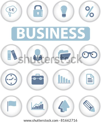 business glossy circle buttons, icons, signs, vector illustrations - stock vector