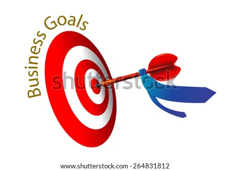 Business goal concept with Necktie bind on arrow, illustration, vector