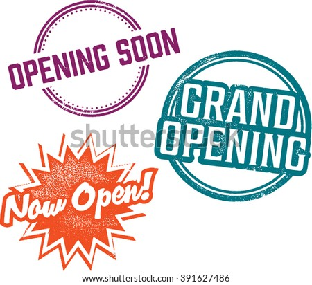 Business Grand Opening Vintage Stamps