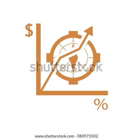 Business graph and chart icon, vector illustration. Flat design style.