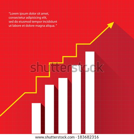 Business graph and chart on red background. vector illustration - stock vector